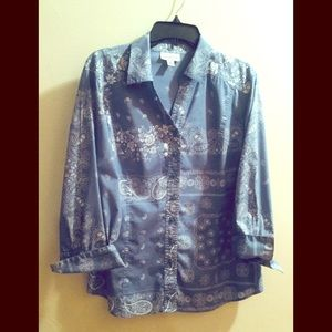Coldwater Creek Blue Bandana 3/4 Sleeve Blouse XL